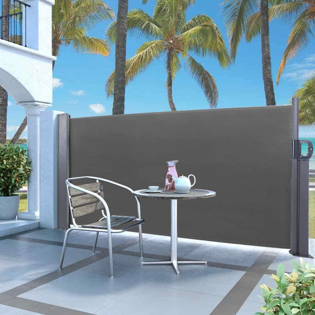 Wind /& UV Protection Canopy Shed for Garden Patio Balcony Terrace Outdoor Privacy Screen Blind Garden Side Awning Sunshade Weatherproof PU Coating Side Awning Retractable Dark Gray 300 x 120cm