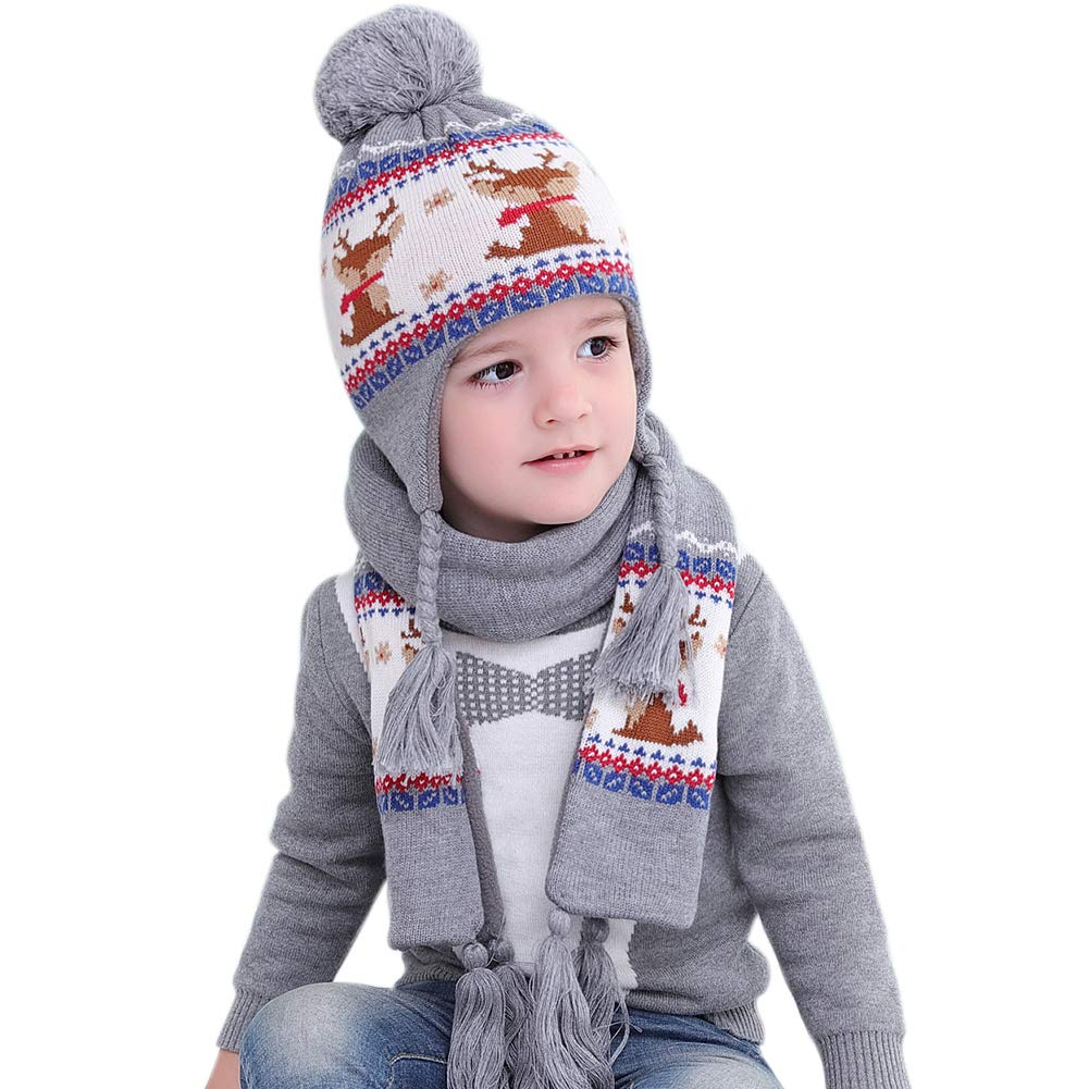 aa44754d72a Amazon.com  Toddler Winter Hat Scarf Kids Boy Girl Earflap Knit Hat Pom Pom  Beanie Christmas(Aged 1-6)  Clothing