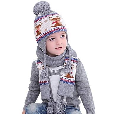 4da0ece46f5 Toddler Winter Hat Scarf Kids Boy Girl Earflap Knit Hat Pom Pom Beanie  Christmas(Aged