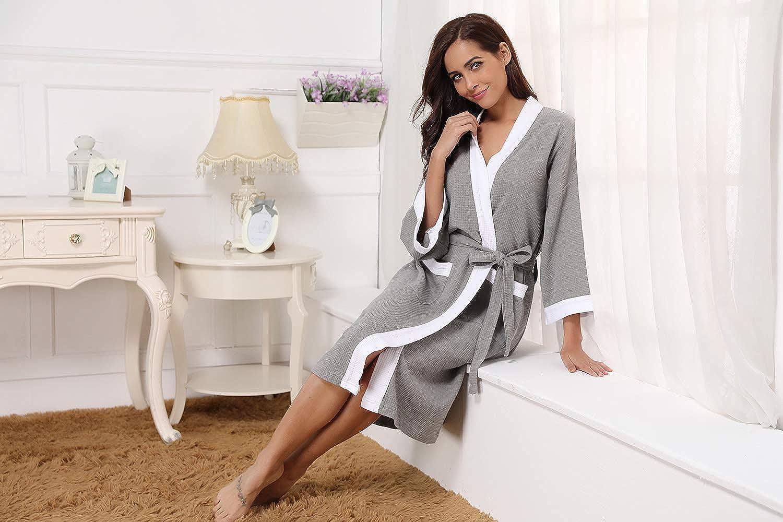 Aiboria Unisex Dressing Gown Bath Robe Waffle Bathrobe Housecoat Nightwear for Men Women