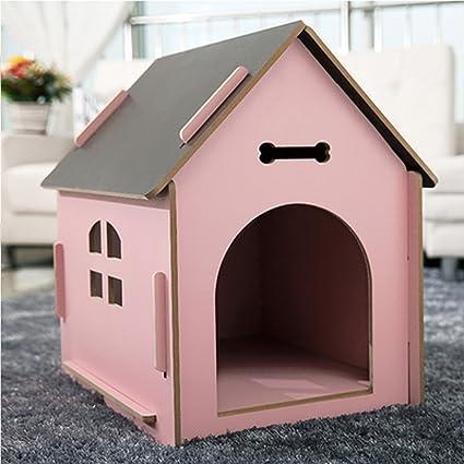 YXINY Perrera Gatos y Perros Habitación de Mascotas/Casa de Madera de Calidad Rosa Cuatro