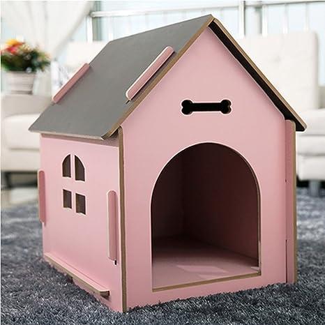 YNZYOG Gatos y Perros Habitación de Mascotas/Casa de Madera de Calidad Rosa Cuatro Estaciones