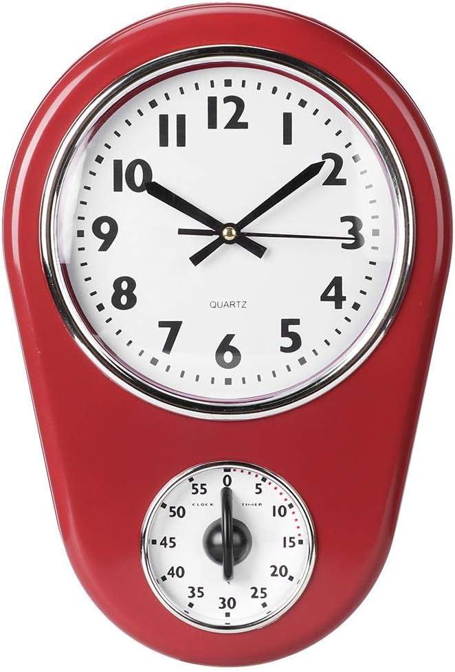 Wifehelper Reloj de Pared Vintage Reloj de Pared Simple Gran Reloj Elegante Colgante Pantalla Grande Hogar Cocina Temporizador Decoración de Habitaciones