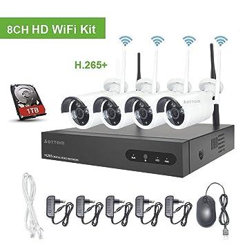 Kit de Vigilancia de Video WiFi Aottom 1080P 8CH Kit de Seguridad ...