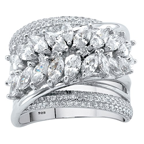 ng Silver Marquise Cut Cubic Zirconia Diagonal Leaf Crossover Ring Size 9 ()
