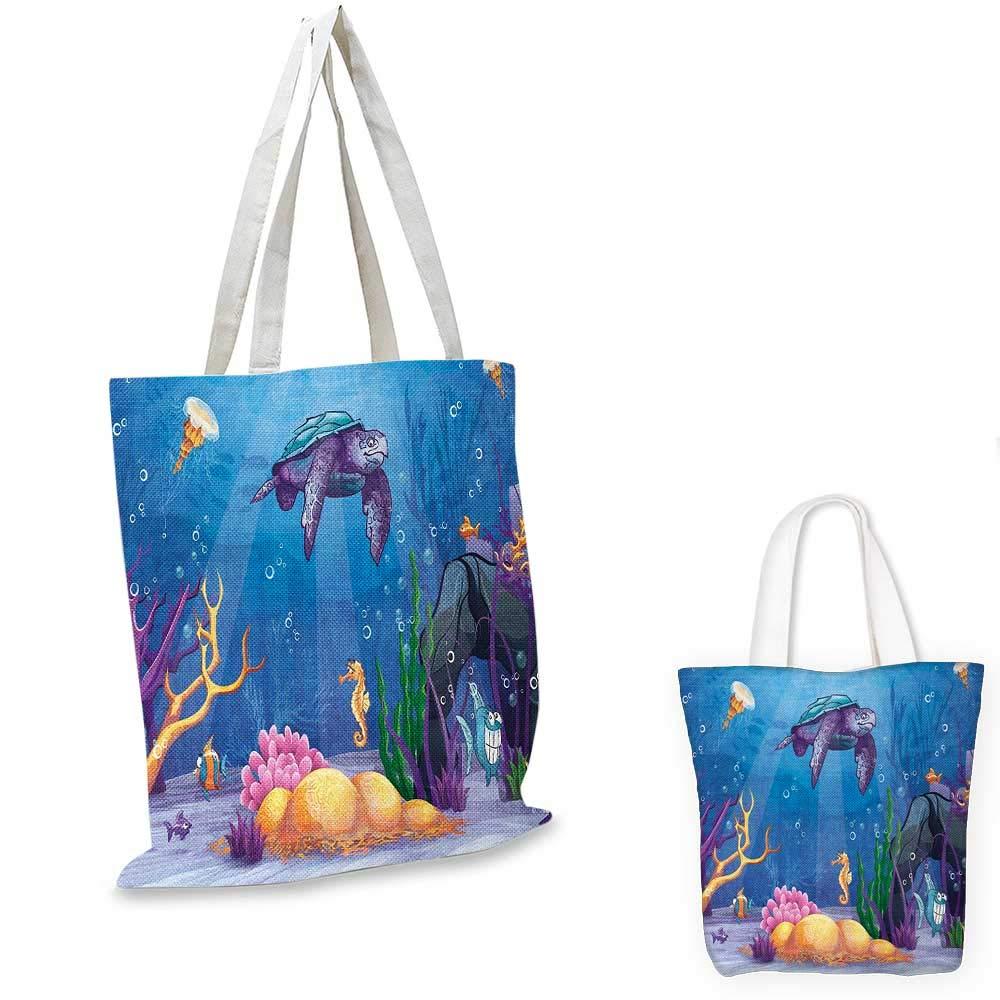 12x15-10 Turtle canvas messenger bag Underwater World Cartoon Style Illustration Funny Fish Jellyfish Sea Horse canvas beach bag Purple Orange Aqua