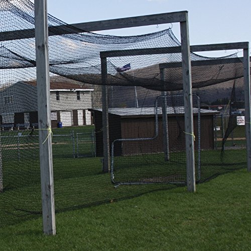 12' High X 14' Wide X 55' Long Batting Cage Net, #42 HDPE Netting, Rope Bordered with Door (Freestanding Batting Cage)