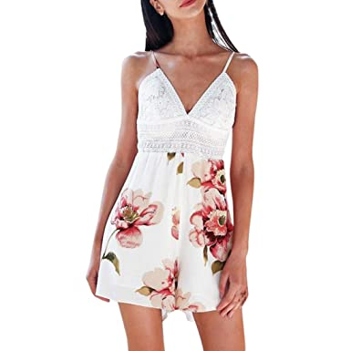 395b0e3e4ea Fat.chot Women s Jumpsuits Deep V Neck Camisole Lace Semi-Sheer Floral  Printed Overalls Backless Bowknot Mini Short Pants Casual Sexy Holiday  Rompers ...