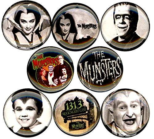 The Munsters x 8 NEW pins button badge herman lily eddie grandpa tv (Grandpa Munster Halloween Costume)