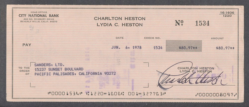 Autographed Charlton Heston Signed Processed Canceled Check Autograph Signature*1534