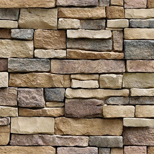 Decorative Brick Panels (Snowfoller 3D Wall Brick Stone Rustic Effect Sticker Home Decor -Self-adhesive Panel Decal PE Wallpaper - Easy to Peel and Stick - Sofa Background TV Walls Decor (Multicolor))