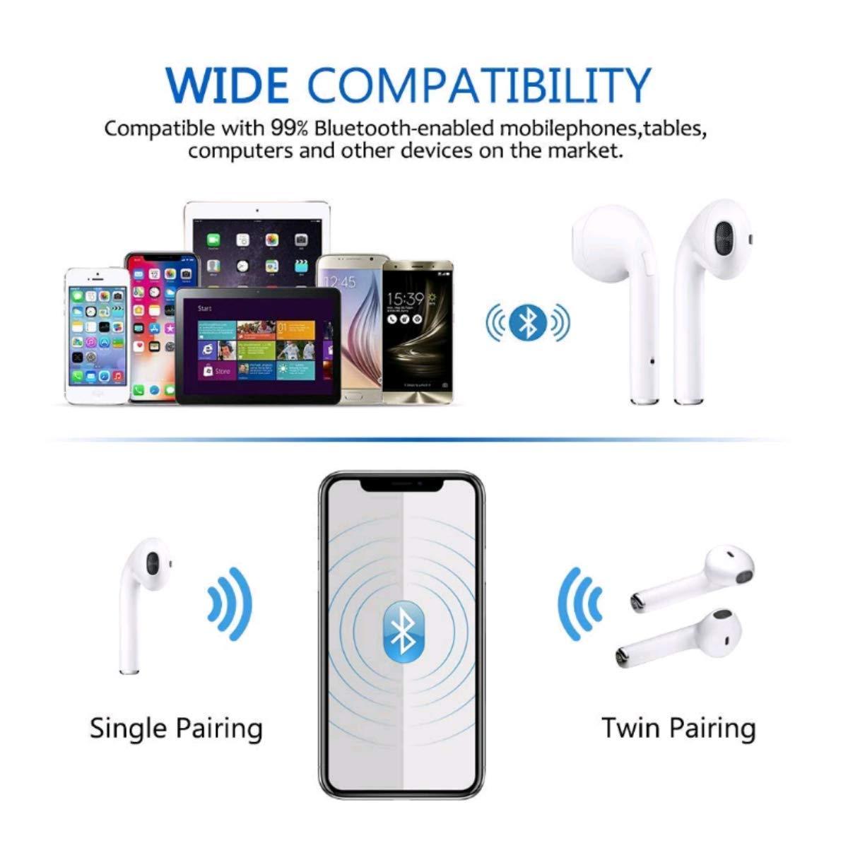 Auriculares Bluetooth V5.0, Inalámbricos Bluetooth I8X-TWS Auriculares Sin Cable Deporte con Estuche de Carga Portátil para Huawei Honor Nokia MI Samsung ...
