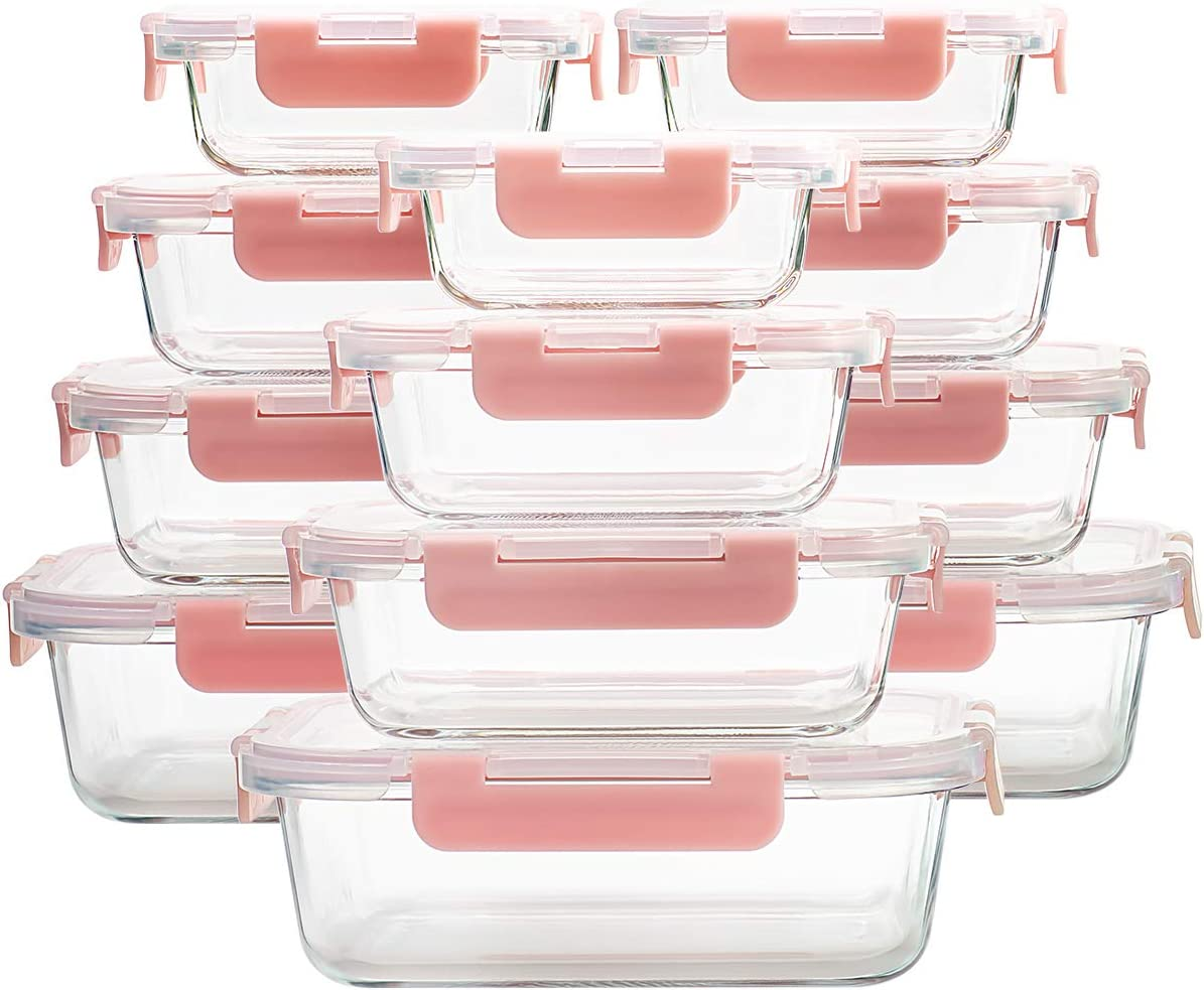 Set of 12 Glass Food Storage Containers, 4 Capacities Glass Lunch Meal Prep Containers with Airtight Lids, BPA-Free Lunch Boxes, Pink & Cute
