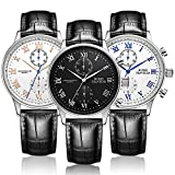 BUREI Mens Casual Chronograph Dress Watches with Roman Numeral Sub-Dials Mineral Lens Leather Strap