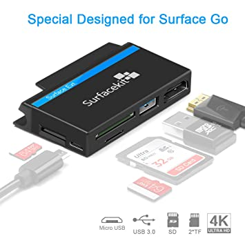 Surfacekit USB C Hub para Surface Go, 4K 1080p HDMI, USB 3.0, Lector de Tarjetas SD/TF, Ranura de inserción para Pen Drive, Micro USB DC para ...