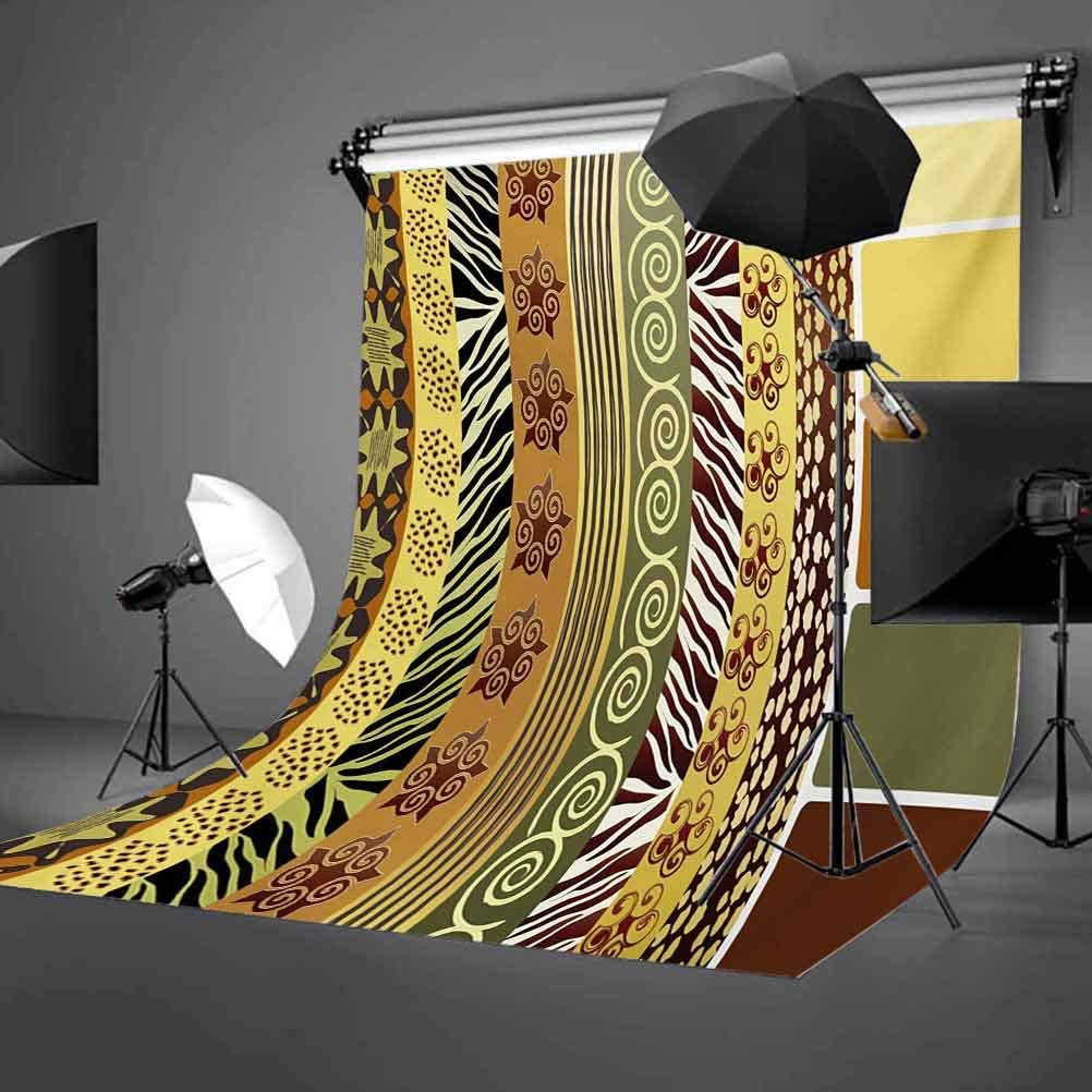 Geometric 8x10 FT Photo Backdrops,Circles Rounds Waves Like Image with Oriental Edges Modern Sketchy Print Background for Photography Kids Adult Photo Booth Video Shoot Vinyl Studio Props