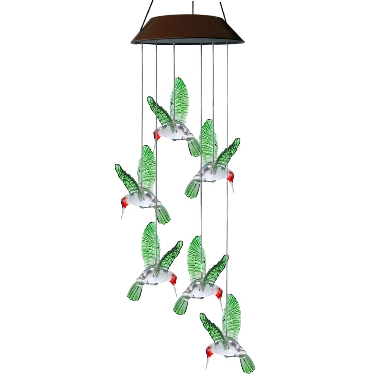 Topspeeder Wind Chimes,Color-Changing Hummingbird Wind Chime Solar LED Six Hummingbird Mobile,Solar Energy and USB Charger, 2 Ways Power Waterproof for Party Night,Garden,Outdoor,Home Decoration etc