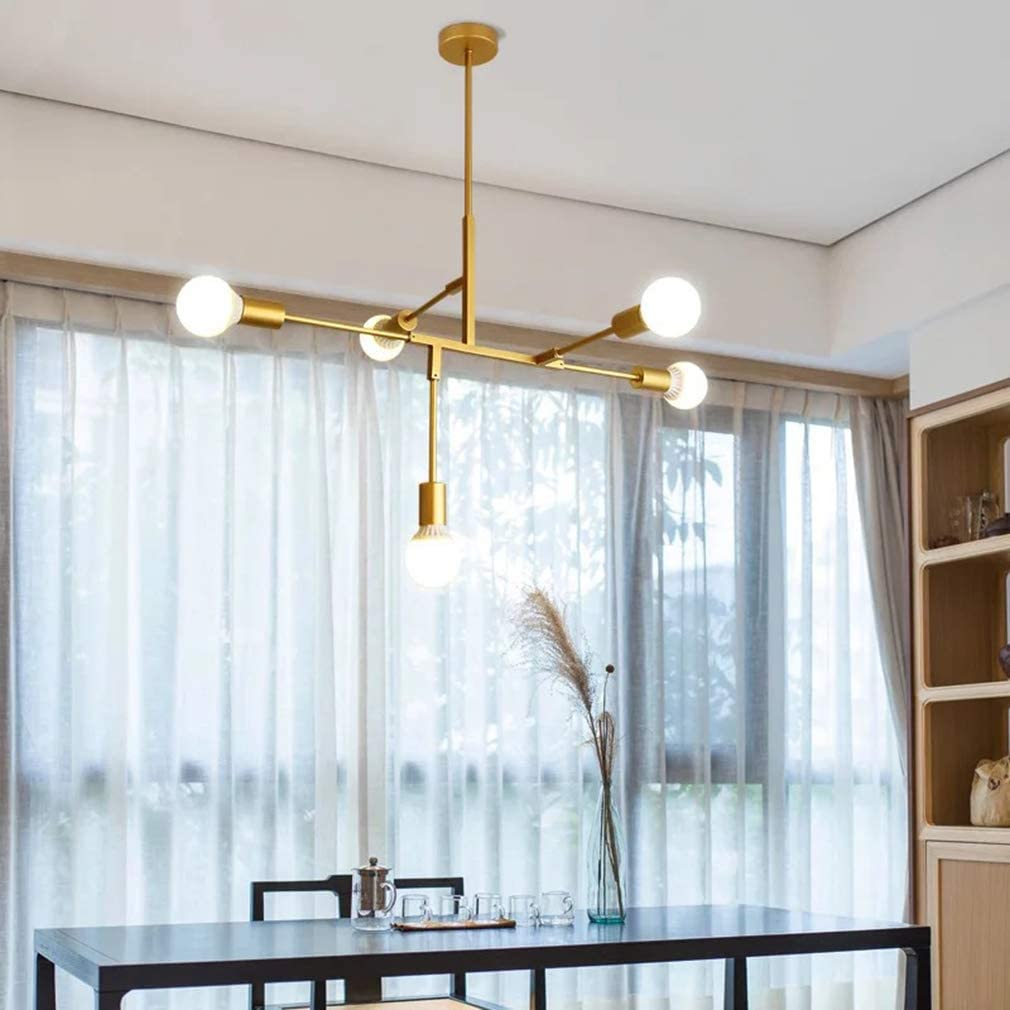 Erwa Modern Chandelier Lighting 5 Lights Brushed Brass Chandelier Mid Century Gold Ceiling Light Fixture for Hallway Bar Kitchen Dining Room