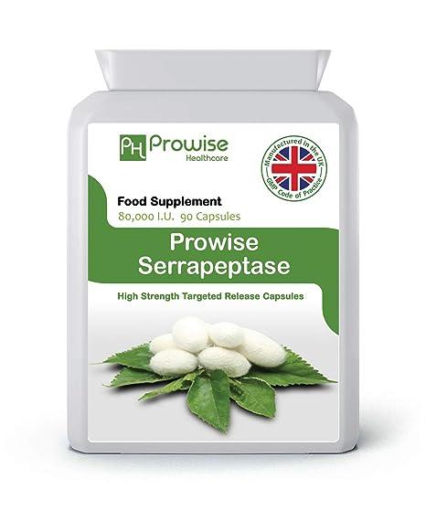 PROWISE SERRAPEPTASE 90 cápsulas 80.000 UI fabricadas en el Reino Unido a código de prácticas GMP