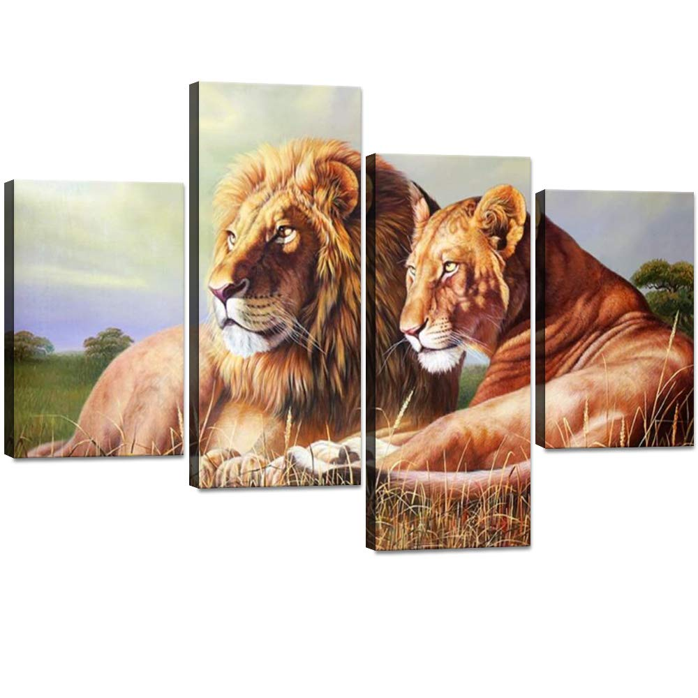 Artwork-03 40''W x 28''H 4 Panels Lion Pictures Wall Decor Lioness and Lion on the Prarie Picture Printed on Canvas Giclee Artwork Modern Lion Canvas Wall Art Stretched and Framed Ready to Hang for Home Decor - 48''W x 36''H