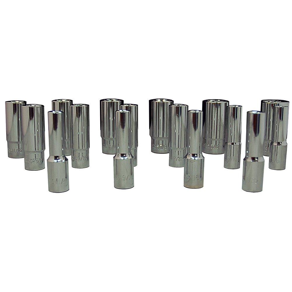 Zenith Industries ZN502236 3//8 Drive 12-Point SAE Deep 1//4-31//32 Socket Set