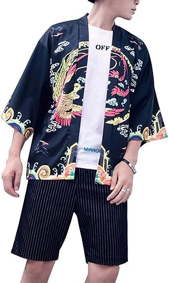 Camisa Kimono Japonés Hombre Manga 3/4 Vintage Cloak Estampado Chaqueta Cardigan: Amazon.es: Ropa y accesorios