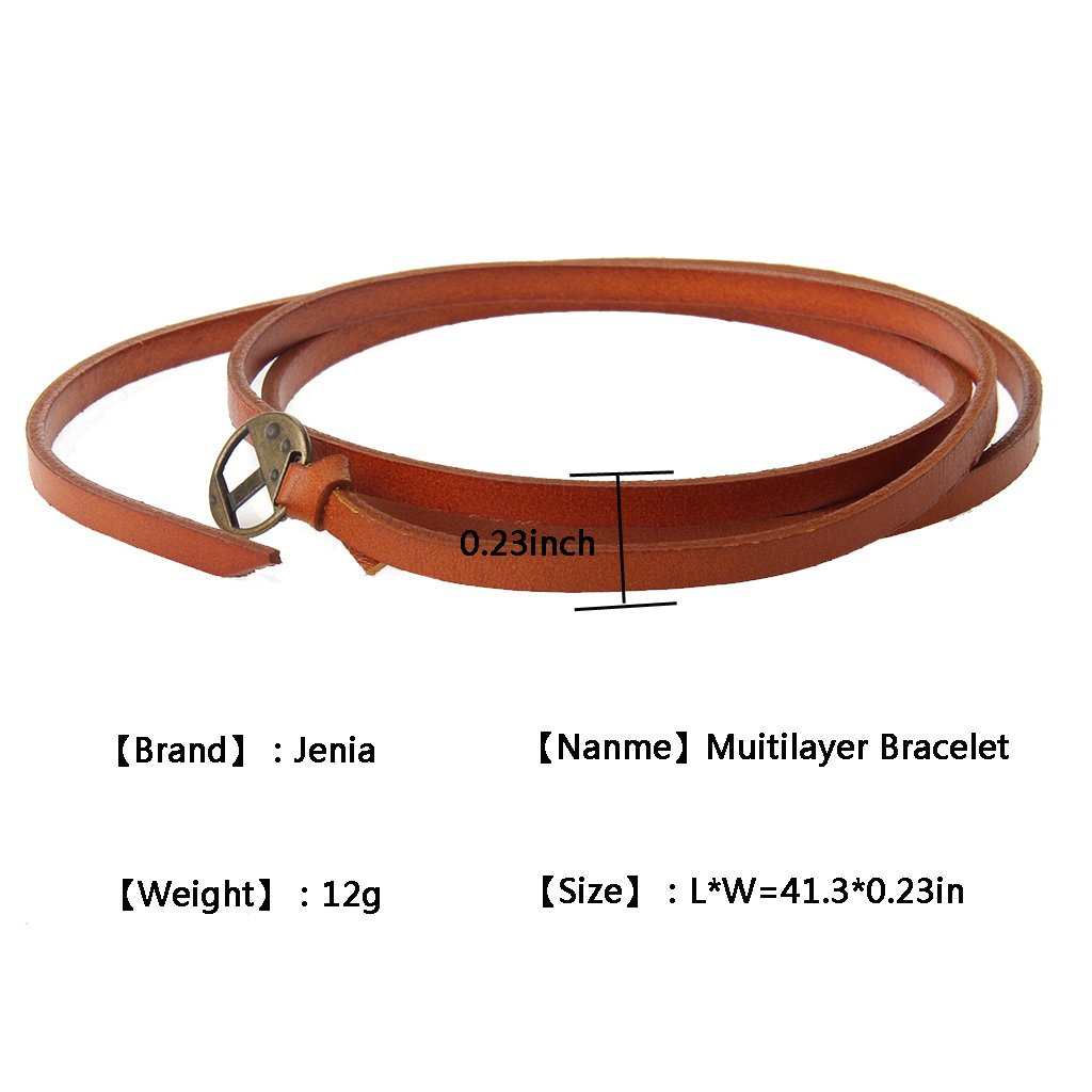 Jenia Adjustable Genuine Leather Bracelet Wrap Cuff Multilayer Wristband for Women and Men by Jenia (Image #4)