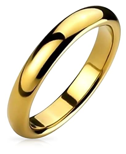 e8fb9fc306d6c Amazon.com: Bling Jewelry Plain Simple Thin Dome Couples Wedding Band Shiny  14K Gold Plated Tungsten Rings for Men for Women Comfort Fit 4mm: Jewelry