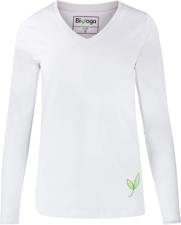 Biyoga - Camiseta de Manga Larga (algodón orgánico, Cuello en V ...