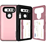 LG G6 Case, LG G6 Card Case, SKINU [USB Type C] [Rose Gold] [Shockproof] [Dual Layer] [Card Slot] [Drop Protection…
