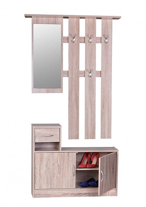 Wohnling Perchero Julia Sonoma 90 cm con Espejo y Armario de ...