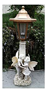 2 Outdoor Garden Decor Solar Fairy Angel/Cherub Statue Sculpture LED Lights ((2) Girl & Boy Fairy)