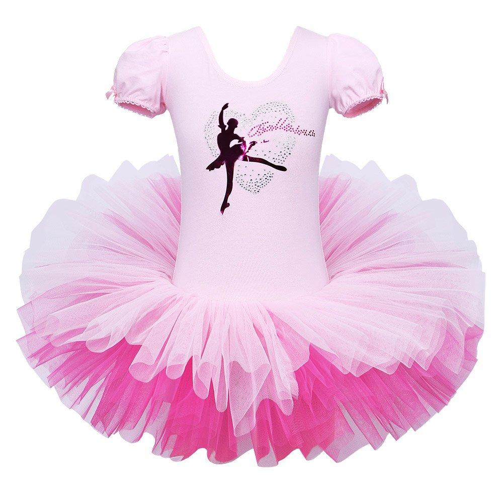 BAOHULU Leotard for Girls Ballet Dance Short Sleeve Full TulleTutu Skirted Dress Ballerina Costumes (4-5 Years(Tag No.L), Pink Ribbon Back) by BAOHULU