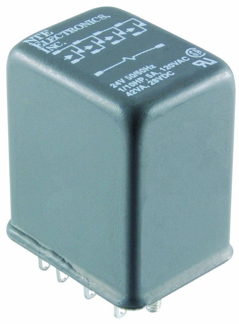 NTE Electronics R12-17D5-24H Series R12 General Purpose DC Relay, 4PDT Contact Arrangement, 5 Amp, 24 VDC, Hermetically Sealed