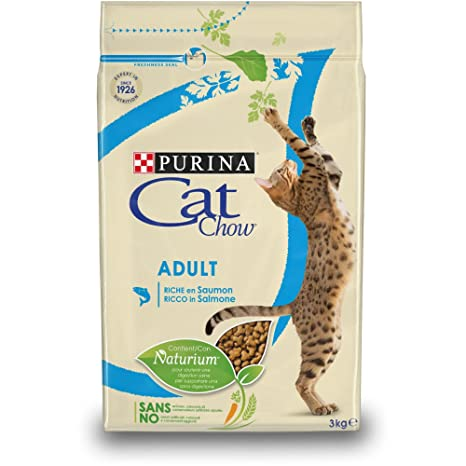 Purina Cat Chow - Comida Seca para Gatos Adultos, Rica en Salmón - 3 Kg