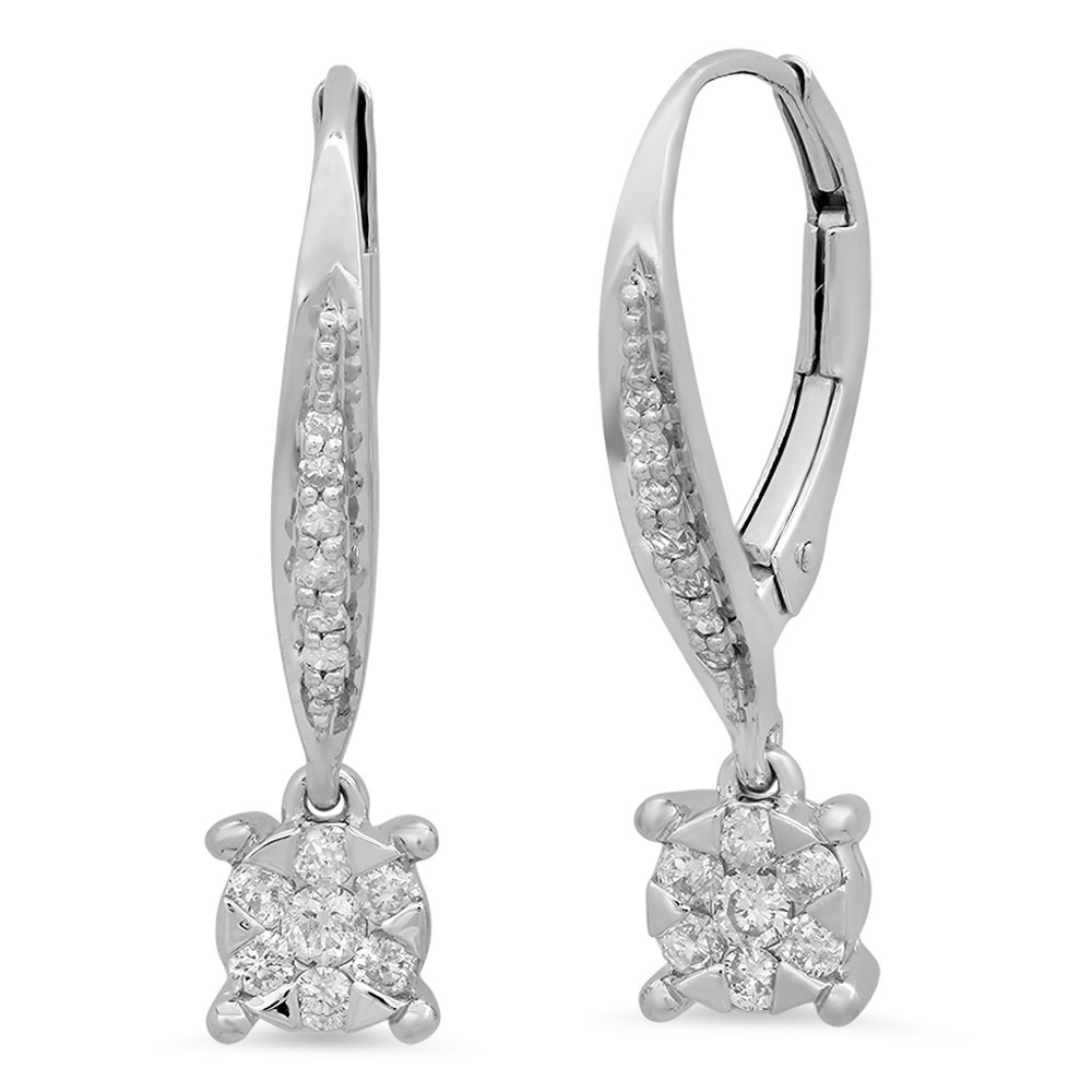 0.35 Carat (ctw) 14K White Gold Round Cut White Diamond Ladies Cluster Style Drop Earrings by DazzlingRock Collection