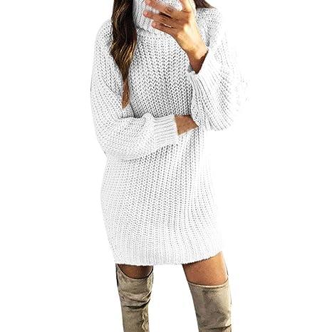 b54685b7221 Robemon✬Chandail Robe Pull Femme Automne Hiver Col Haut La Mode Épais Tricot  Mme Manches Longues Long Loose Texture Sweater Manteau  Amazon.fr   Vêtements ...
