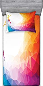 Ambesonne Sports Bedding Set with Sheet & Covers, Gymnastics Girl Gymnast Portrait Colored Geometric Digital Shapes Modern Olympics, Printed Bedroom Decor with Sham, Twin, Multicolor