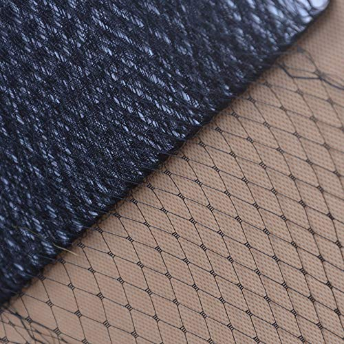 Birdcage Veil Netting Lots French Wedding Hat Fascinator Millinery Craft B089 (2 Yard, Black)