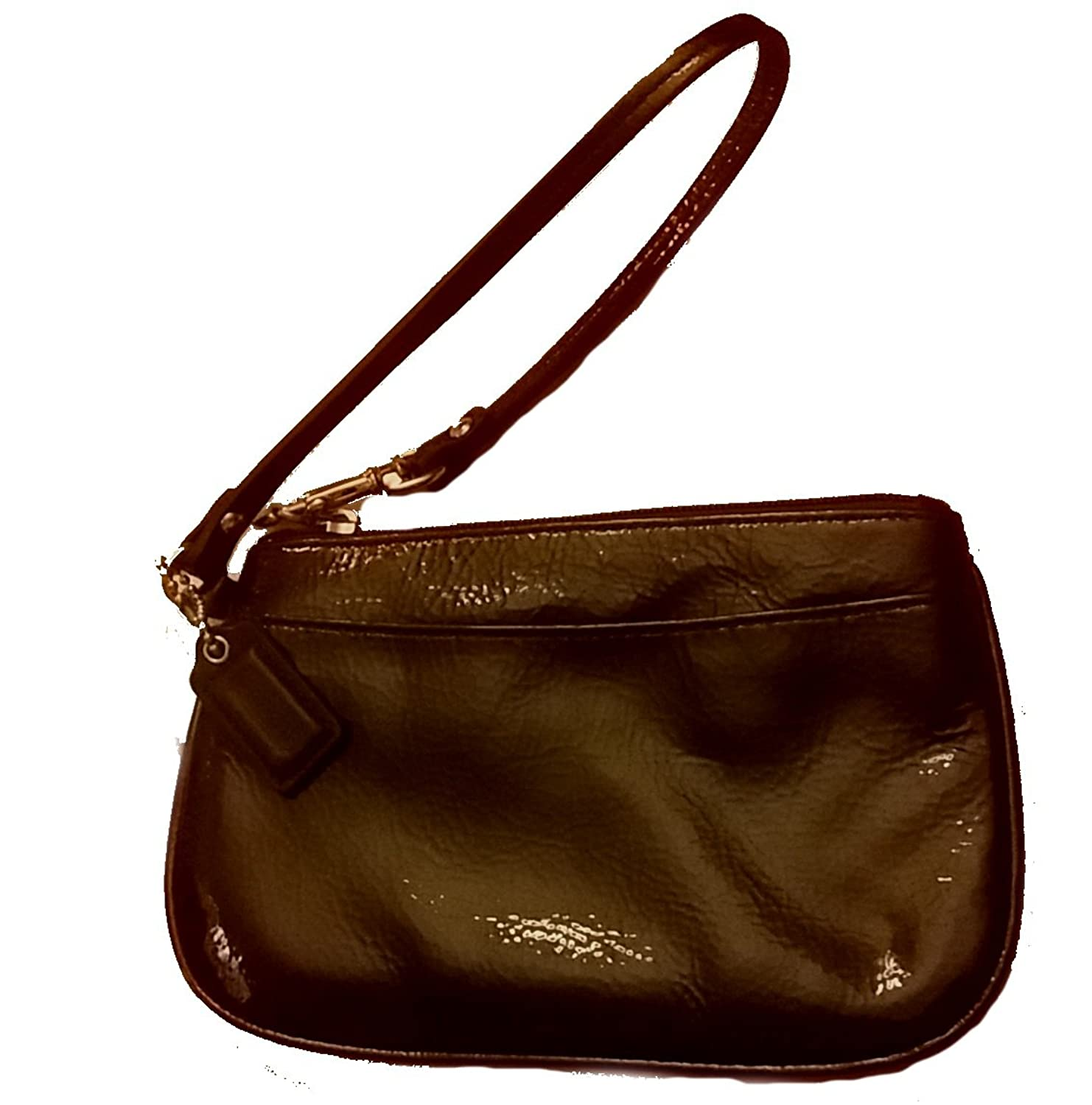 Coach Patent Leather Small Wristlet Mahogany 47782