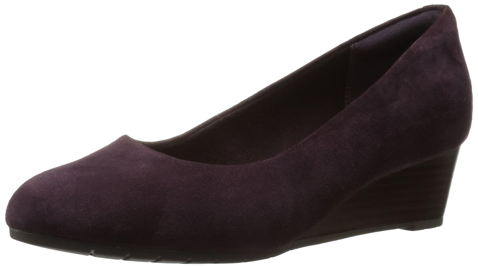 CLARKS Women's Vendra Bloom Wedge Pump, Vendra Bloom Aubergine Suede, 6.5 W US