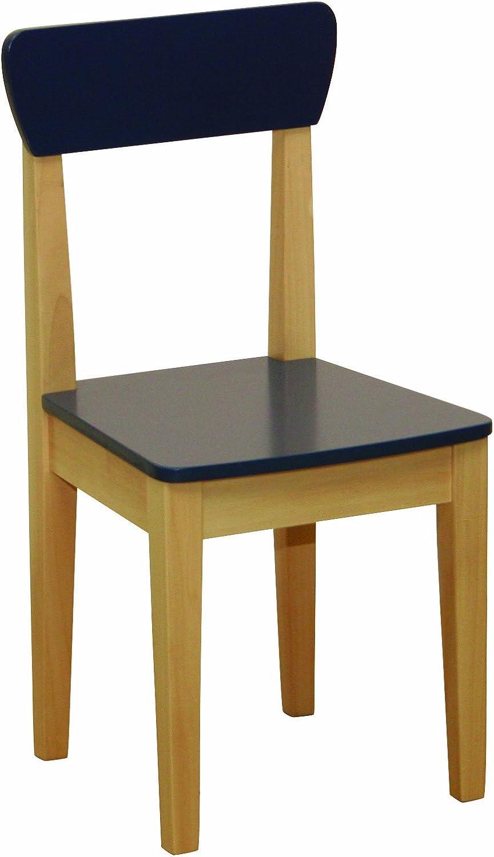 roba 50773 - Silla para niños, de madera maciza, tableros de fibra de densidad media, pintado con asiento y respaldo pintado de azul 59 x 28,5 x 29,5 cm, fabricante del asiento: 31 cm [importado de Al