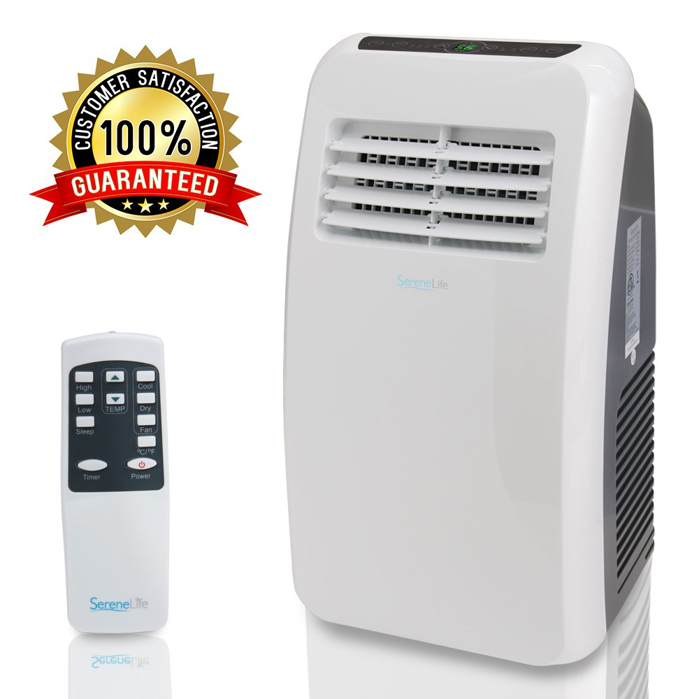 SereneLife 8,000 BTU Portable Air Conditioner, 3-in-1 Floor AC Unit with Built-in Dehumidifier, Fan Modes, Remote Control, Complete Window Mount Exhaust Kit for Rooms Up to 225 Sq. ft by SereneLife