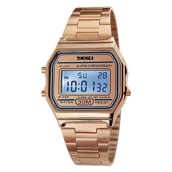 A prueba de agua reloj digital retro/Relojes de moda de los hombres/ reloj de múltiples funciones de acero-A: Amazon.es: Relojes