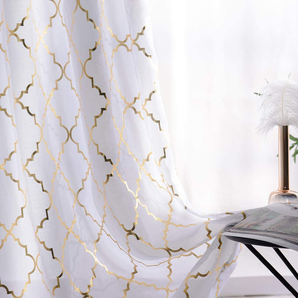 YJYANJUN Sheer Curtains 63 inch Length Airy Metallic Gold and White Voile Curtains for Living Room Golden Moroccan Modern Tile Lattice Design 2 Pieces, 52x63 Inch