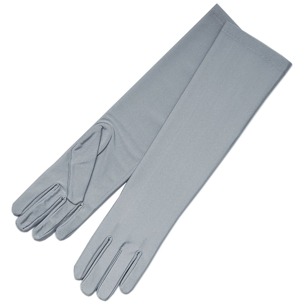 ZaZa Bridal 4-Way Stretch Matte Finish Satin Dress Gloves Below-The-Elbow Length-Gray