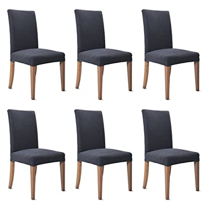 Sensational 6Pcs Dining Chair Cover Jacquard Polyester Spandex Fabric Dining Chair Covers Removable Washable Chair Slipcovers Stretch Pack Of 6 Grey Caraccident5 Cool Chair Designs And Ideas Caraccident5Info