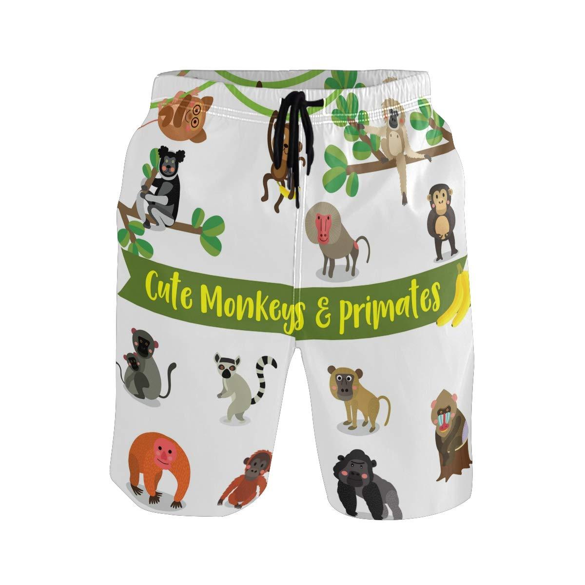WIHVE Mens Beach Swim Trunks Cartoon Cute Monkey Primates Tree Branches Boxer Swimsuit Underwear Board Shorts with Pocket