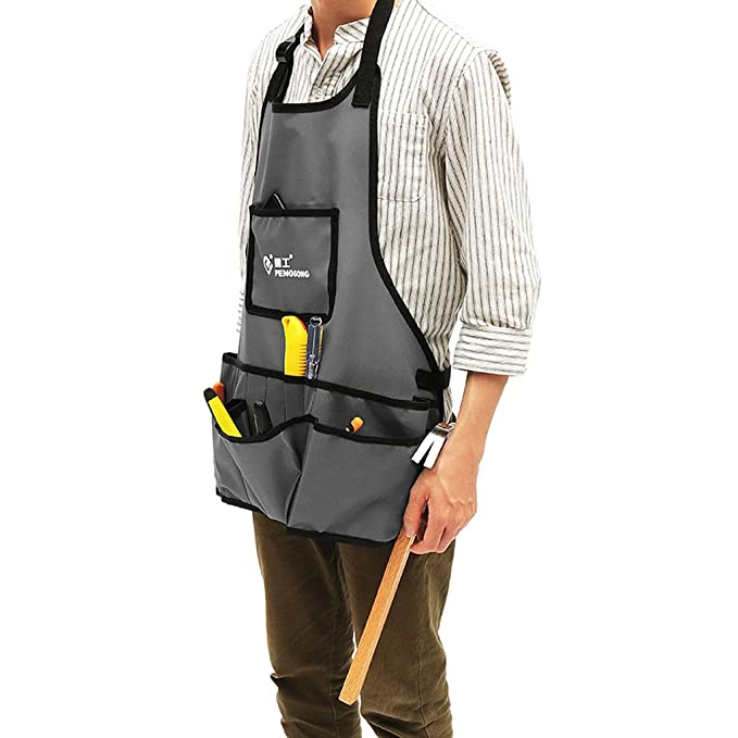 Men Work Apron with 13 Tool Pockets Pouch Belt for Tradesman Gardener Black