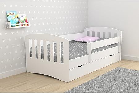 Lit Enfant Classic 1 80 Cm X 160 Cm Avec Barriere De Securite Sommier Tiroirs Matelas Offert Blanc Amazon Fr Cuisine Maison